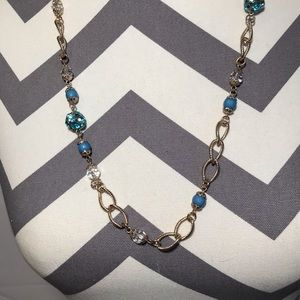 Gold and Blue Gem Chain Necklace